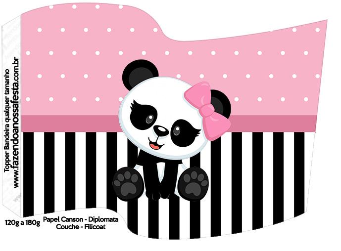 Bandeirinha Varalzinho Panda Rosa