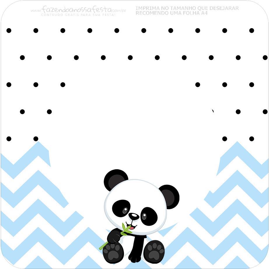 Bandeirinha Varalzinho Quadrada Panda Azul Personalizados para Festa
