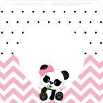 Bandeirinha Varalzinho Quadrada Panda Rosa Personalizados para Festa