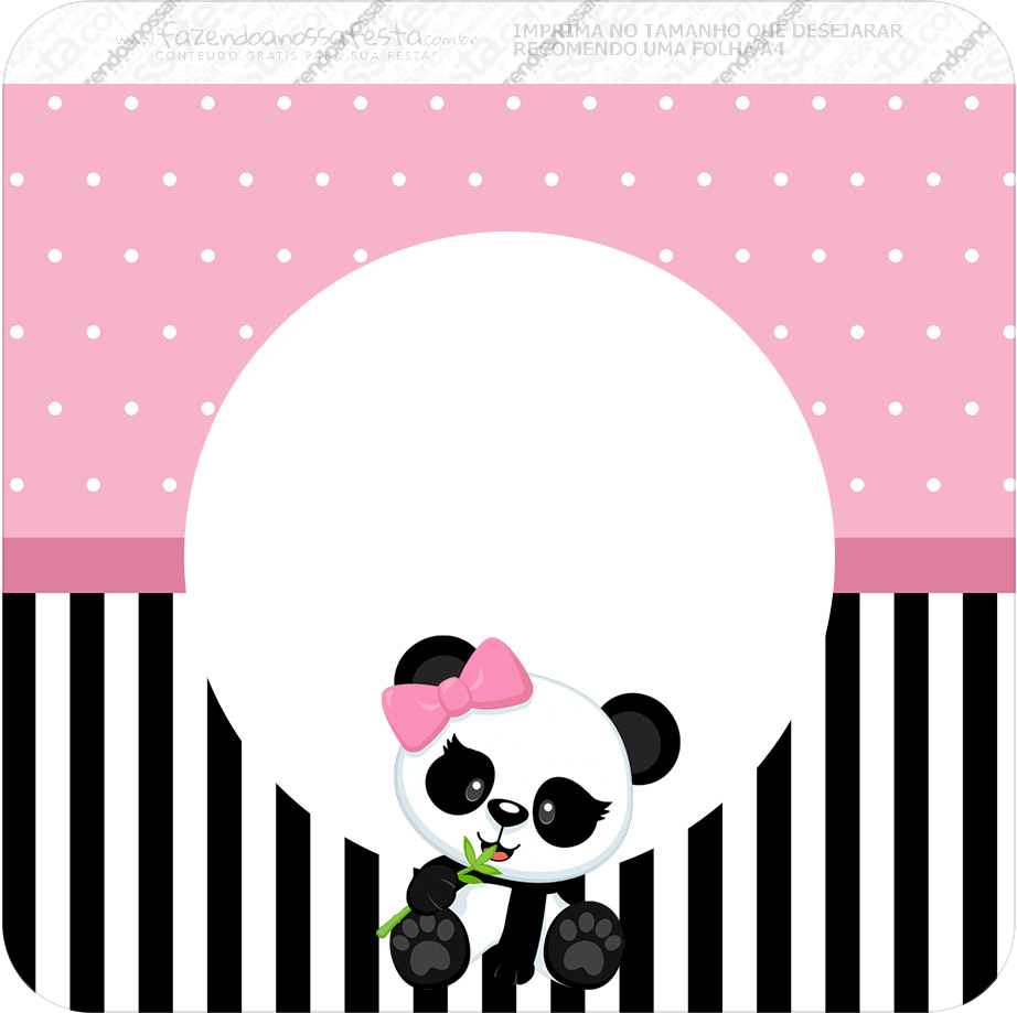 Bandeirinha Varalzinho Quadrada Panda Rosa