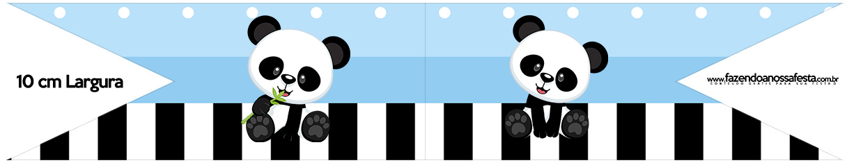 Bandeirinha para Sanduiche Panda Azul Kit Festa
