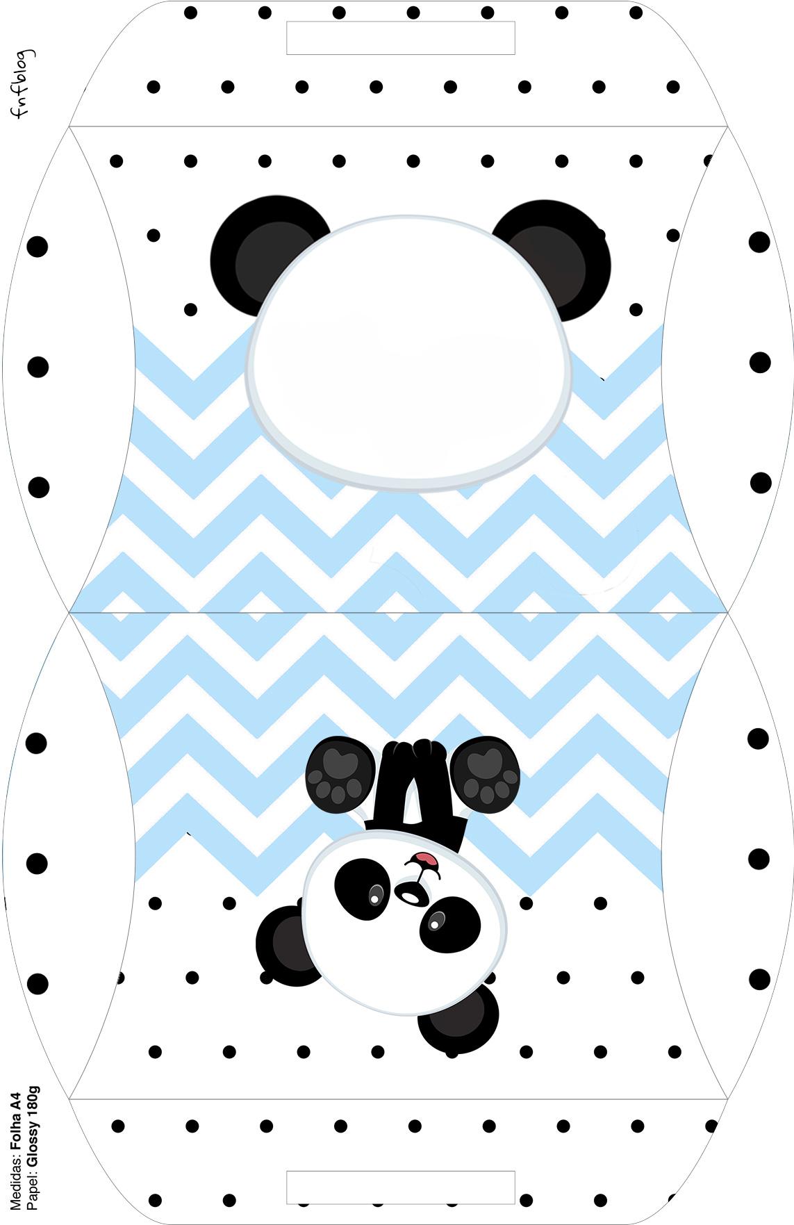 Bolsinha para lembrancinha Panda Azul