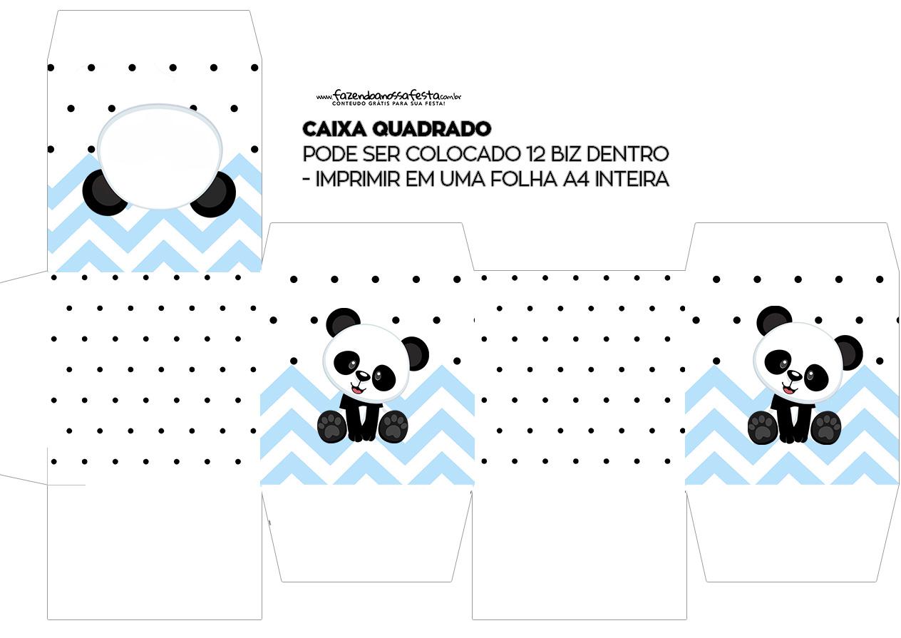 Caixa Cubo ou Bis Panda Azul