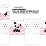 Caixa Cubo ou Bis Panda Rosa Menina