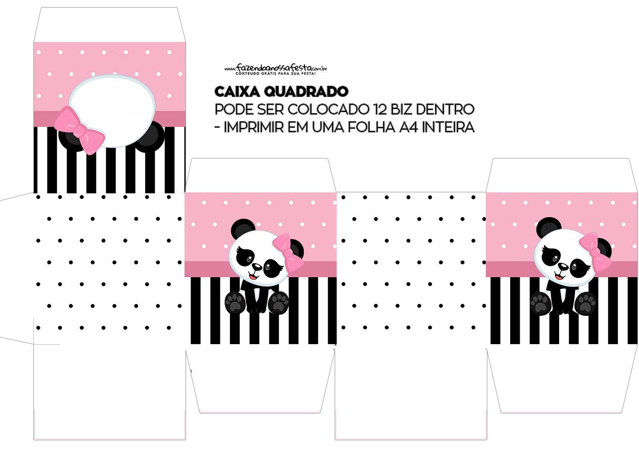 Caixa Cubo ou Bis Panda Rosa