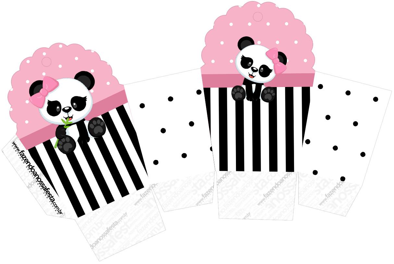Caixa Cupcake Panda Rosa
