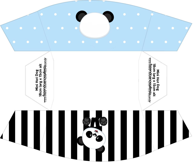 Caixa Mini Cachorro quente Panda Azul Kit Festa