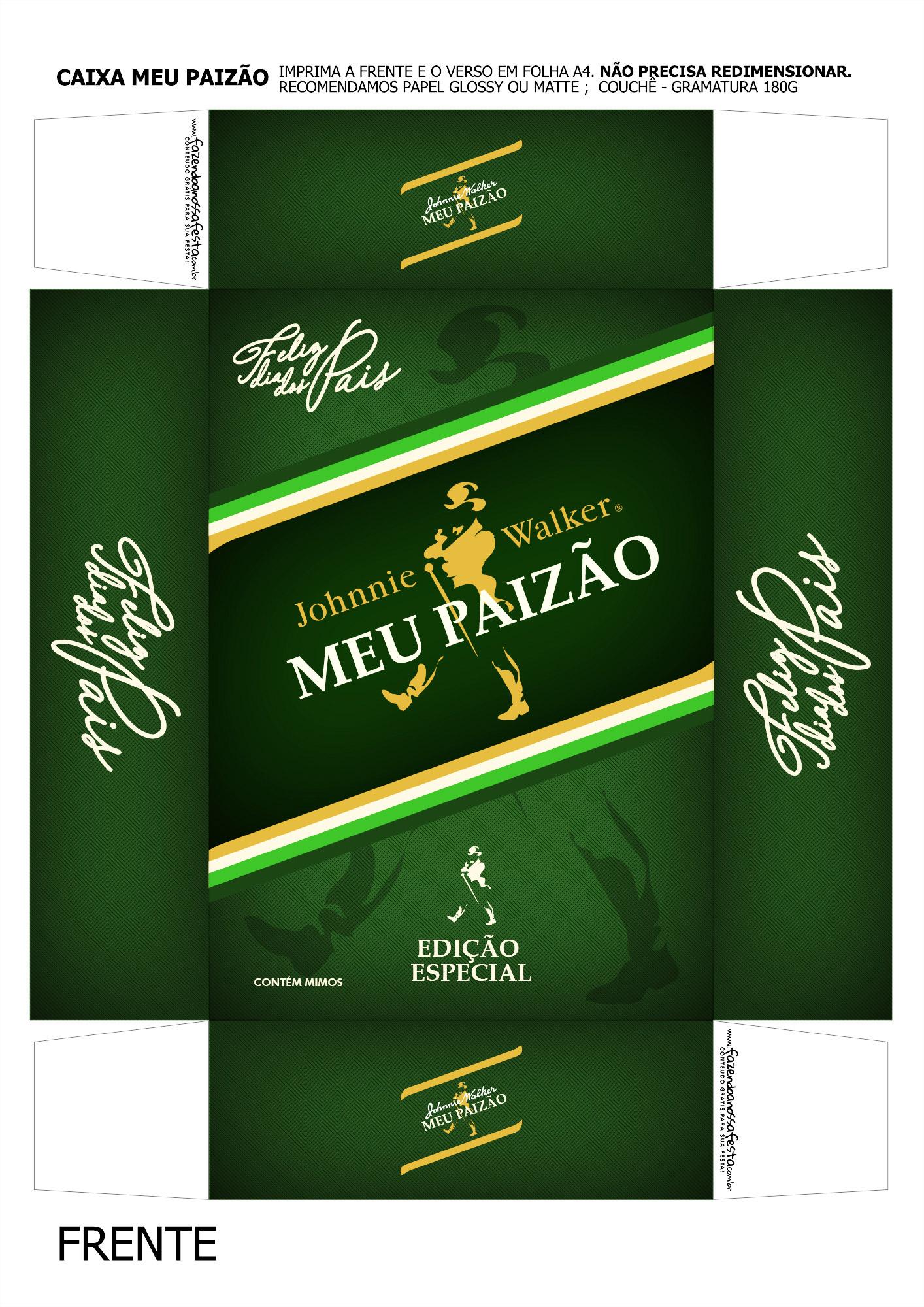 Caixa Mini Whisky para Dia dos Pais Verde Frente
