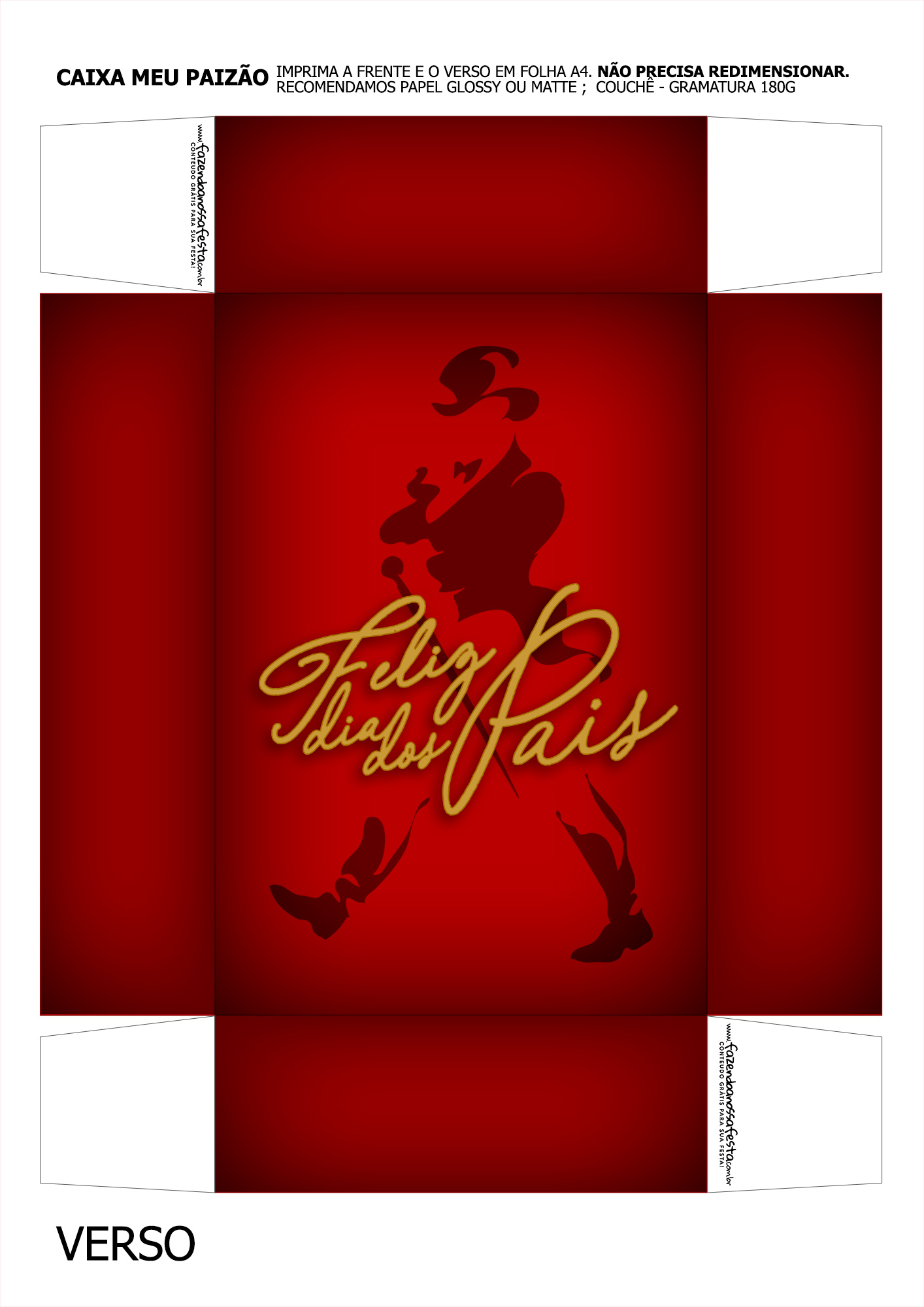 Caixa Mini Whisky para Dia dos Pais Vermelho Verso