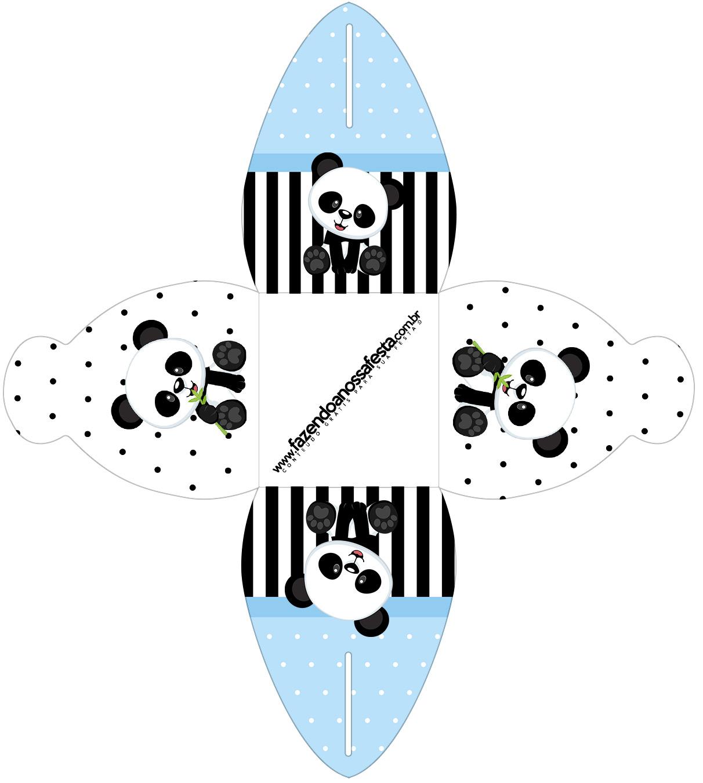 Caixa bombom pequeno Panda Azul Menino