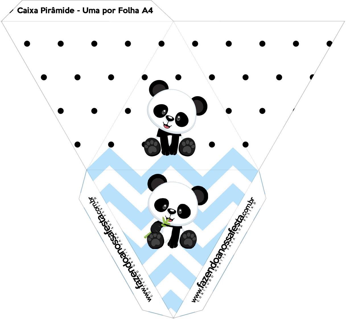 Caixa Piramide Panda Azul