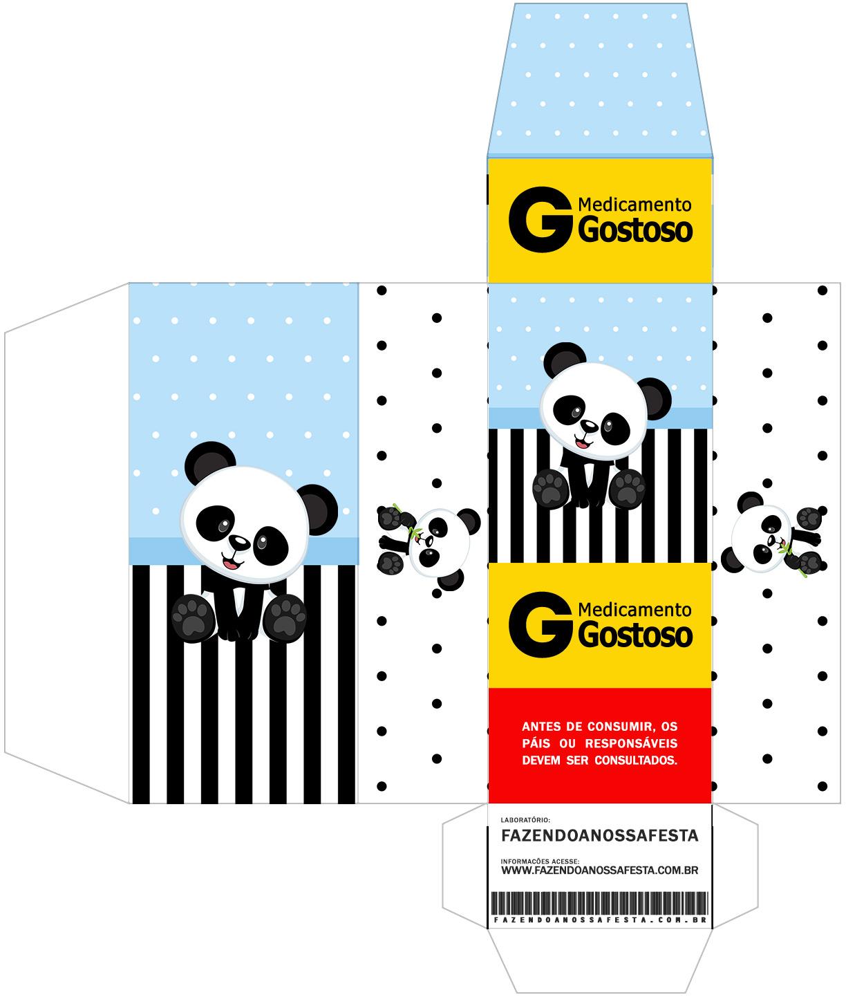 Caixa Remedio Panda Azul Menino