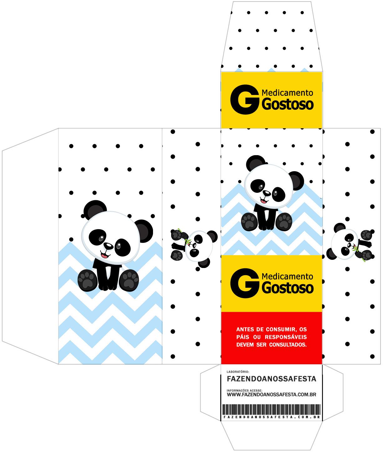 Caixa Remedio Panda Azul