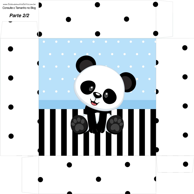 Caixa bombom Fundo Panda Azul Menino
