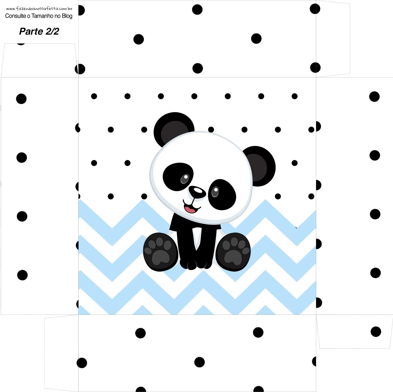 Caixa bombom Fundo Panda Azul