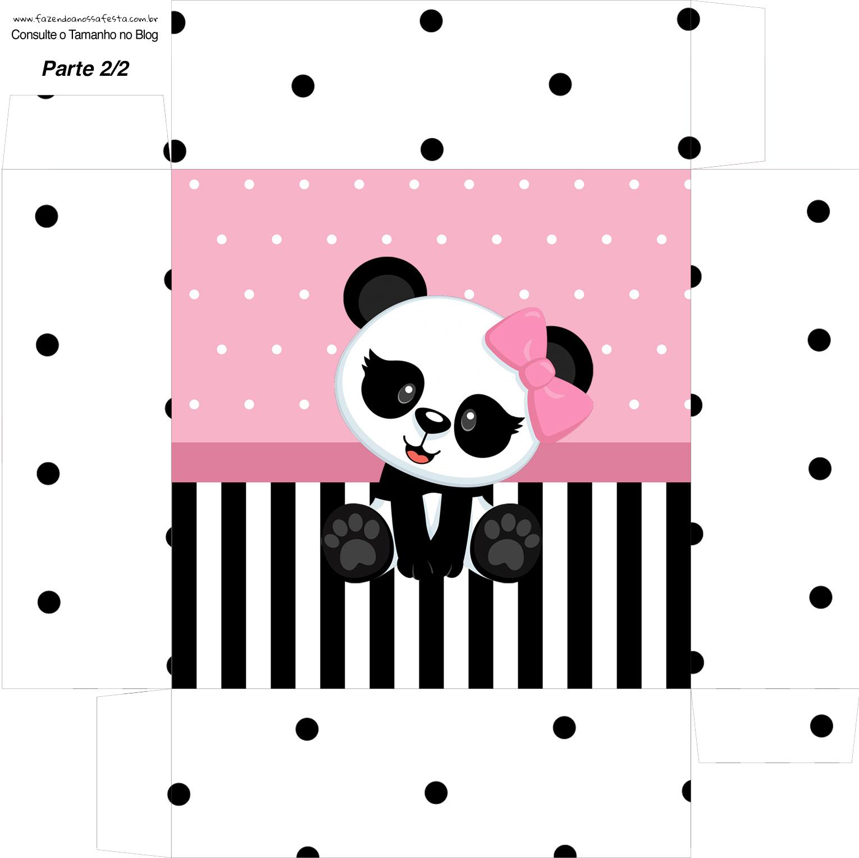 Caixa bombom Fundo Panda Rosa