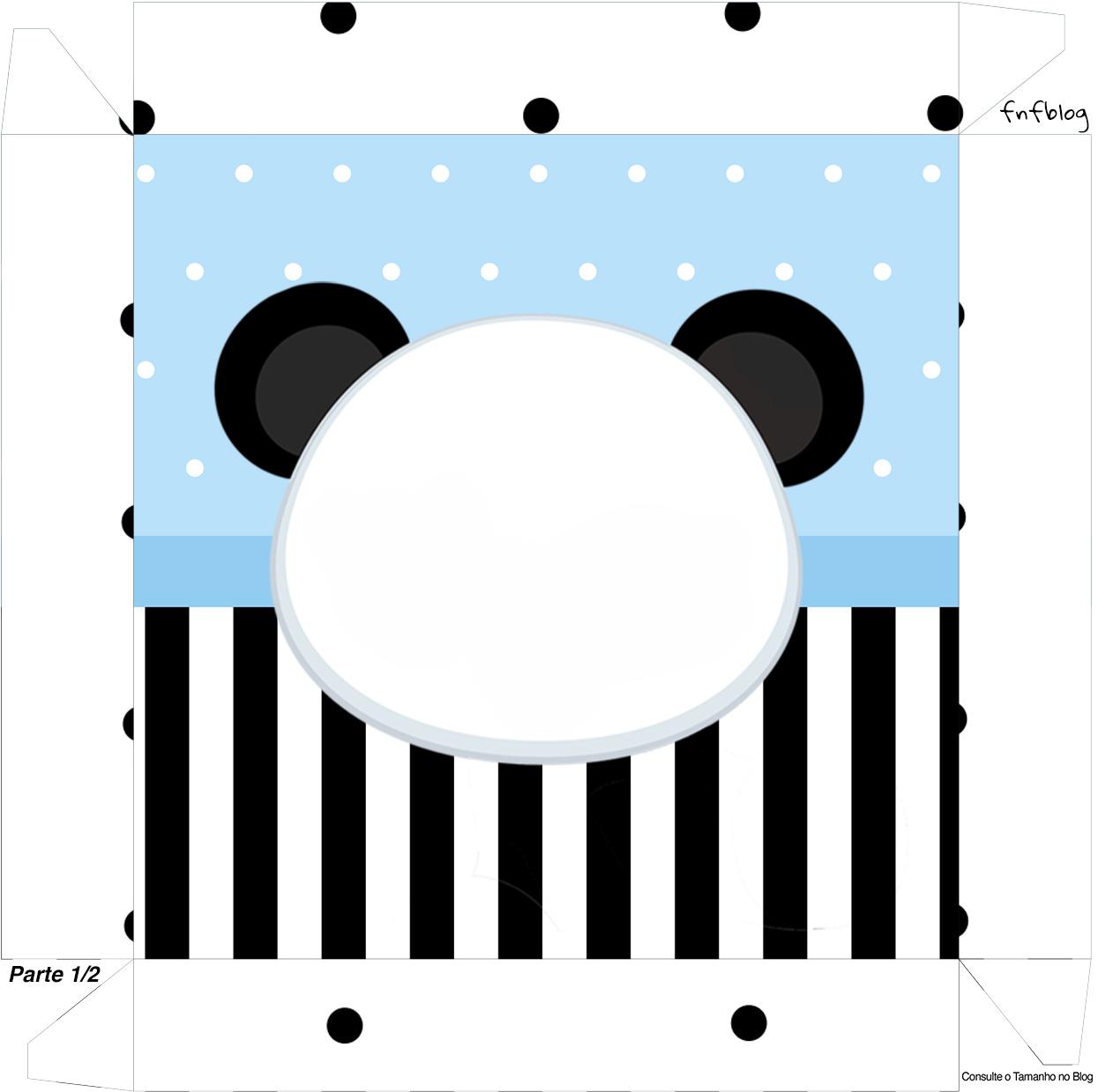 Caixa bombom Tampa Panda Azul Menino