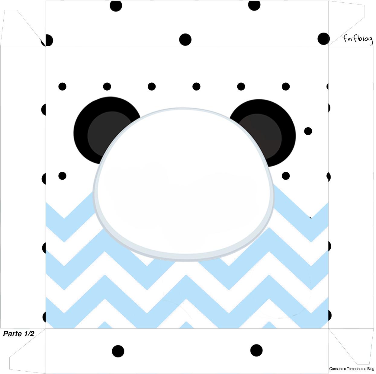 Caixa bombom Tampa Panda Azul