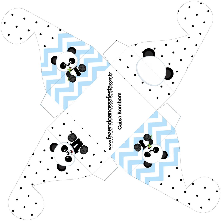 Caixa bombom pequeno Panda Azul