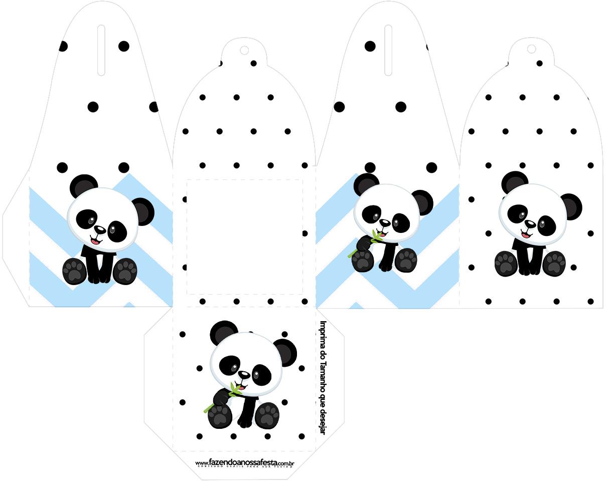 Caixa com Foto Panda Azul