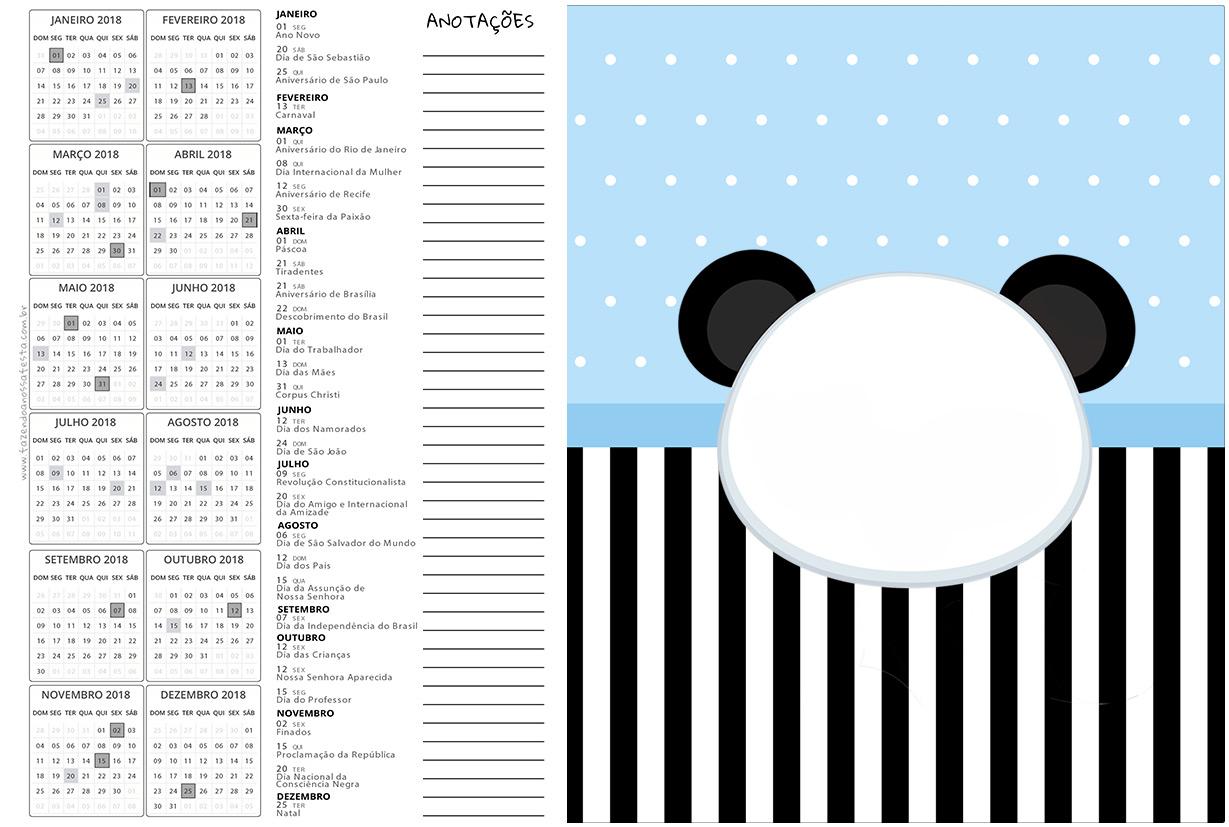 Calendario 2017 2 Panda Azul Menino