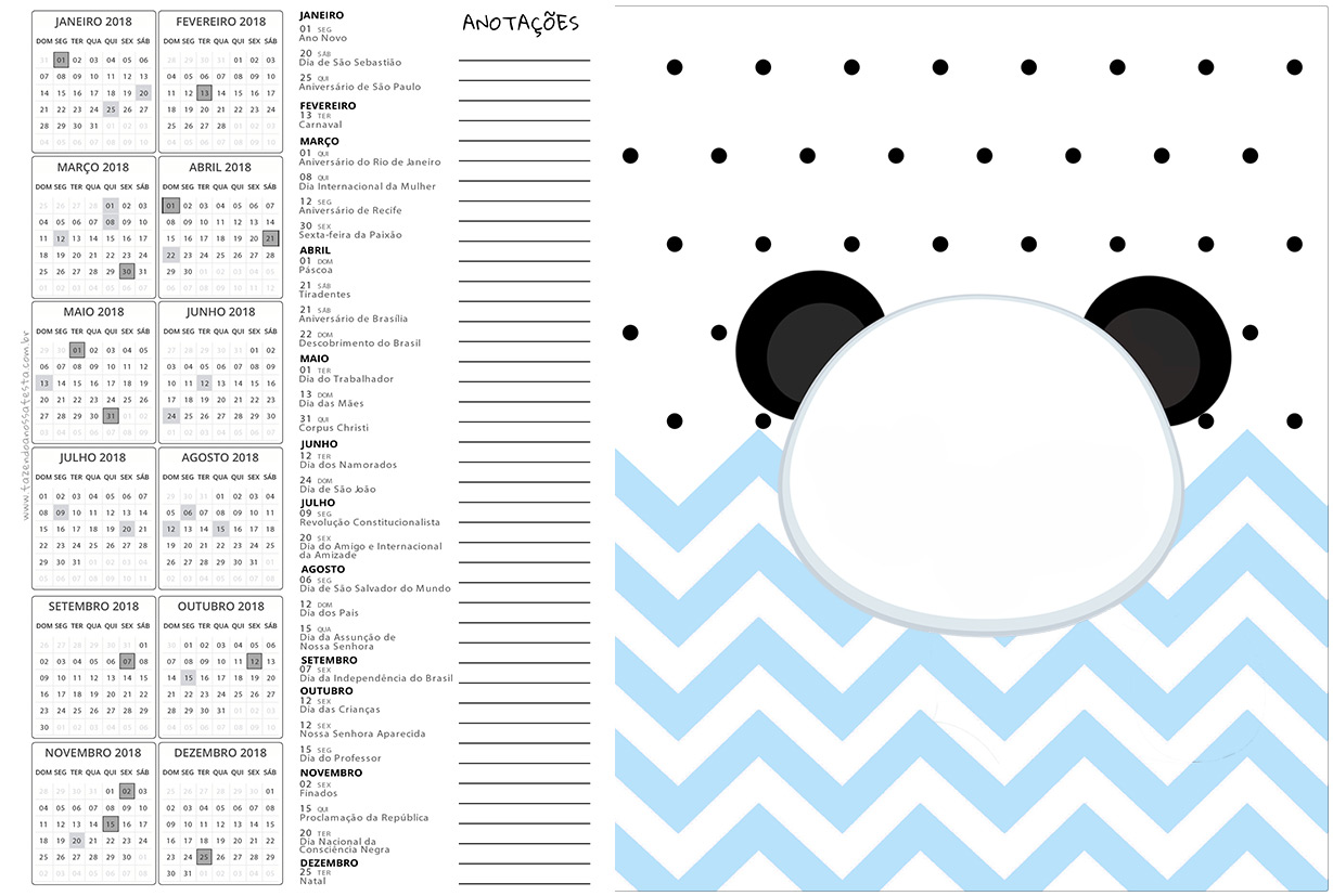 Calendario 2017 2 Panda Azul