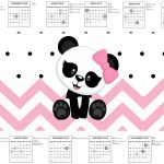 Calendario 2017 Rotulo Agua Tampa Marmitinha 500g Panda Rosa Personalizados para Festa