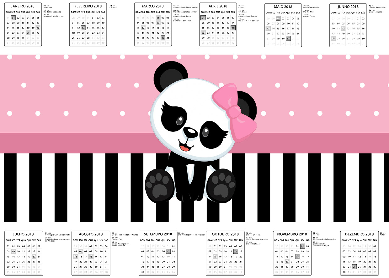 Calendario 2017 Panda Rosa