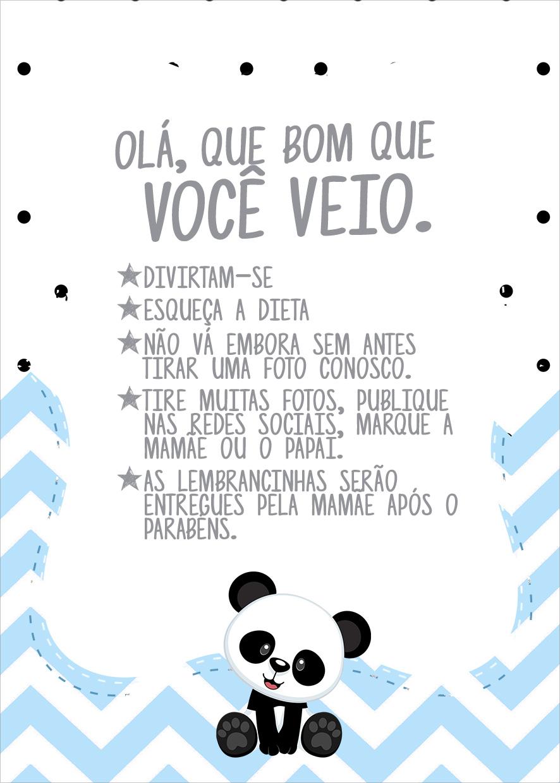 Cartao Agradecimento Quadro Panda Azul