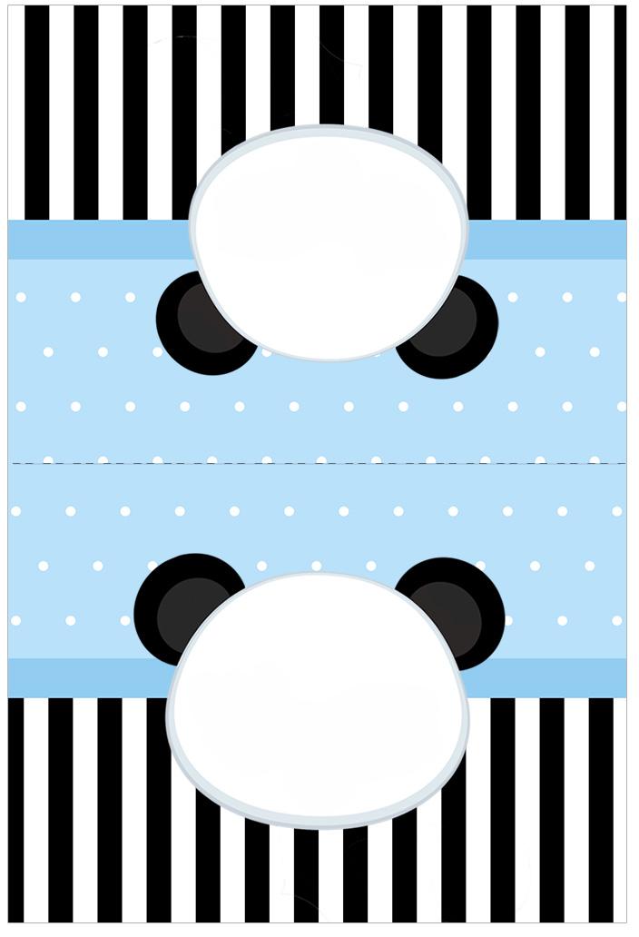 Cartao Agradecimento de mesa Panda Azul Menino