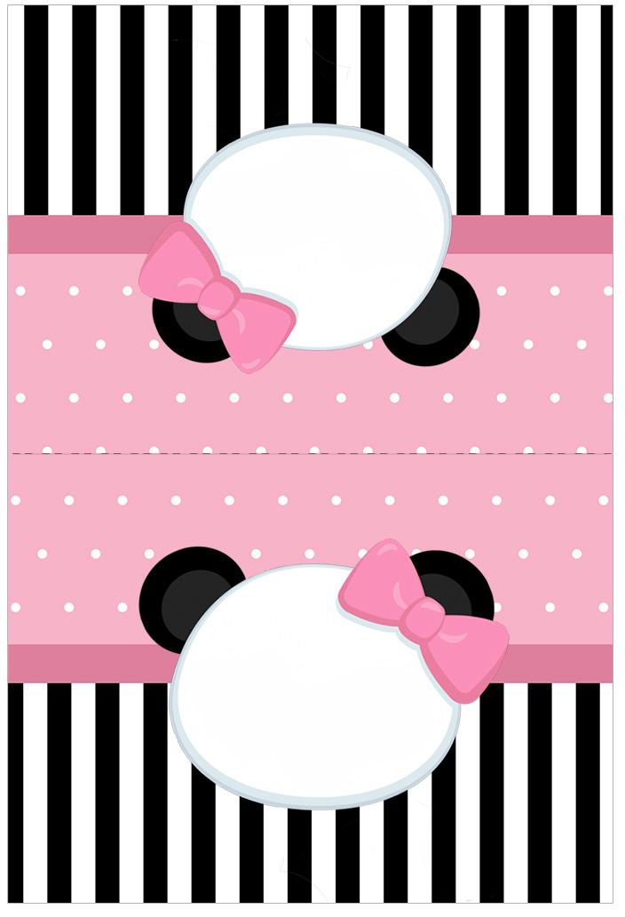 Cartao Agradecimento de mesa Panda Rosa