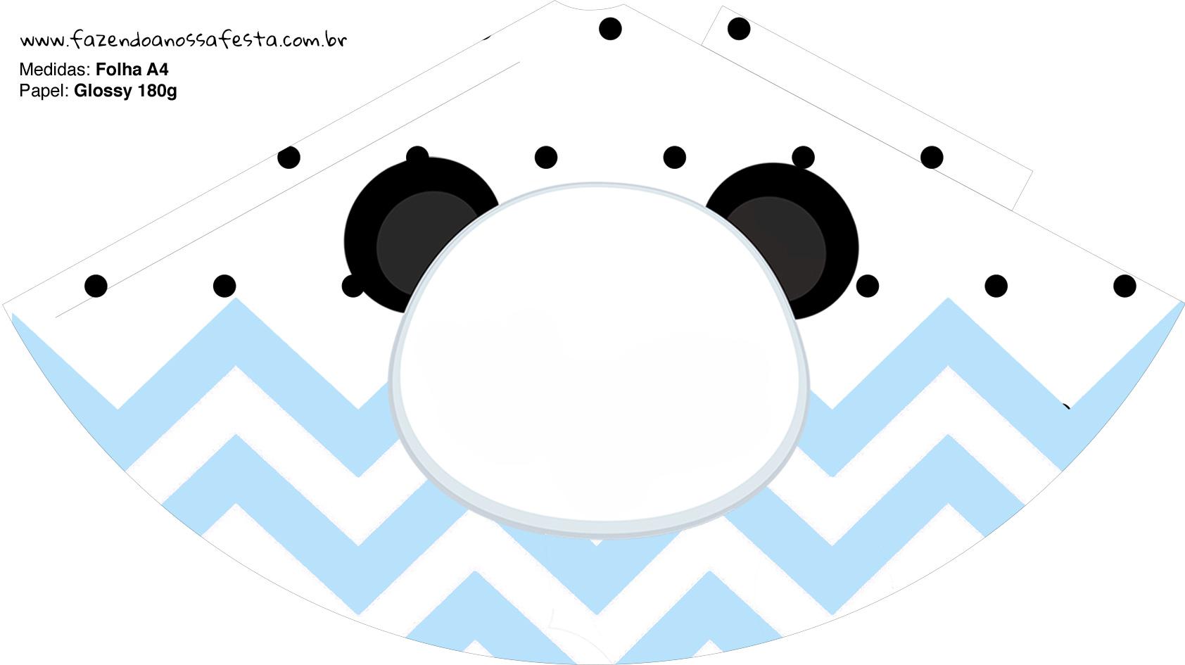 Chapeuzinho de Festa Panda Azul