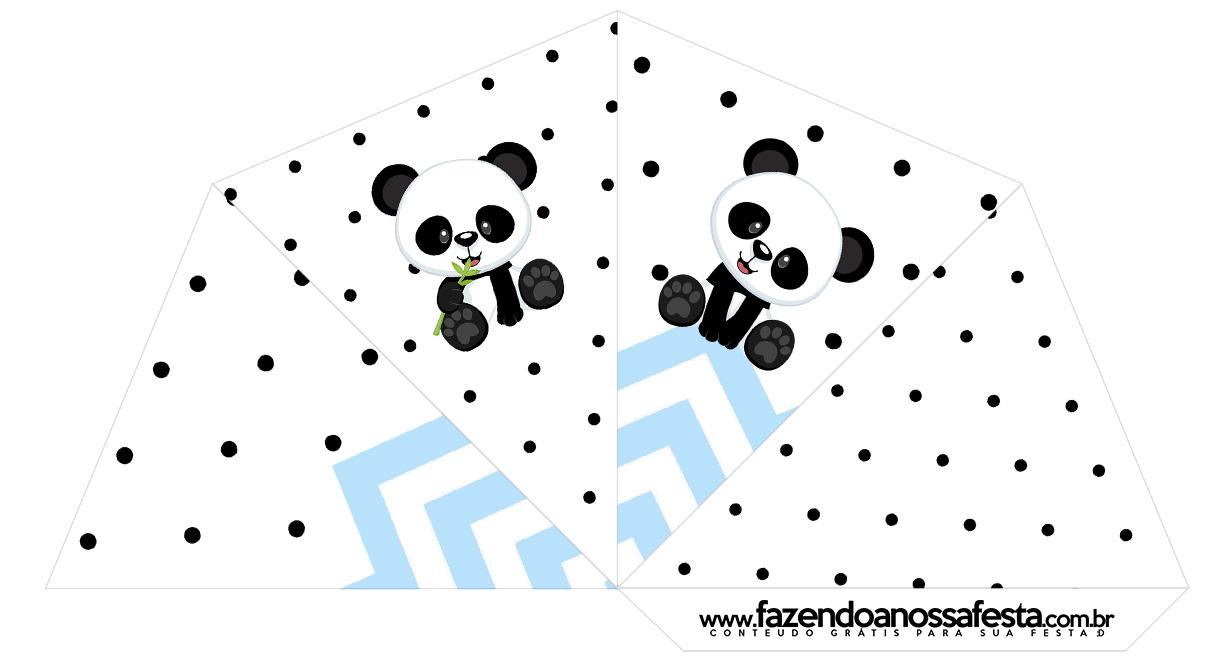 Cone Guloseimas 4 lados Panda Azul