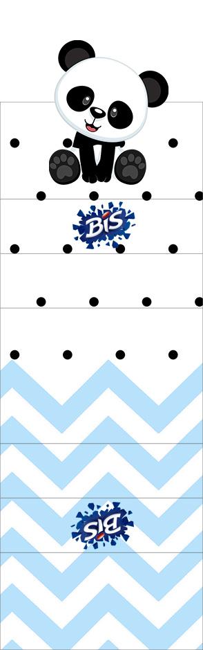 Convite Bis Duplo 3D Panda Azul