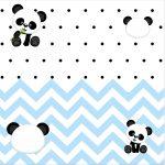 Convite Caixa Fundo Panda Azul