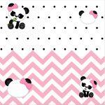 Convite Caixa Fundo Panda Rosa Menina