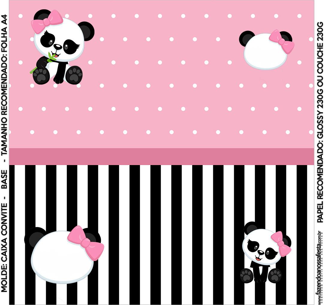 Convite Caixa Fundo Panda Rosa