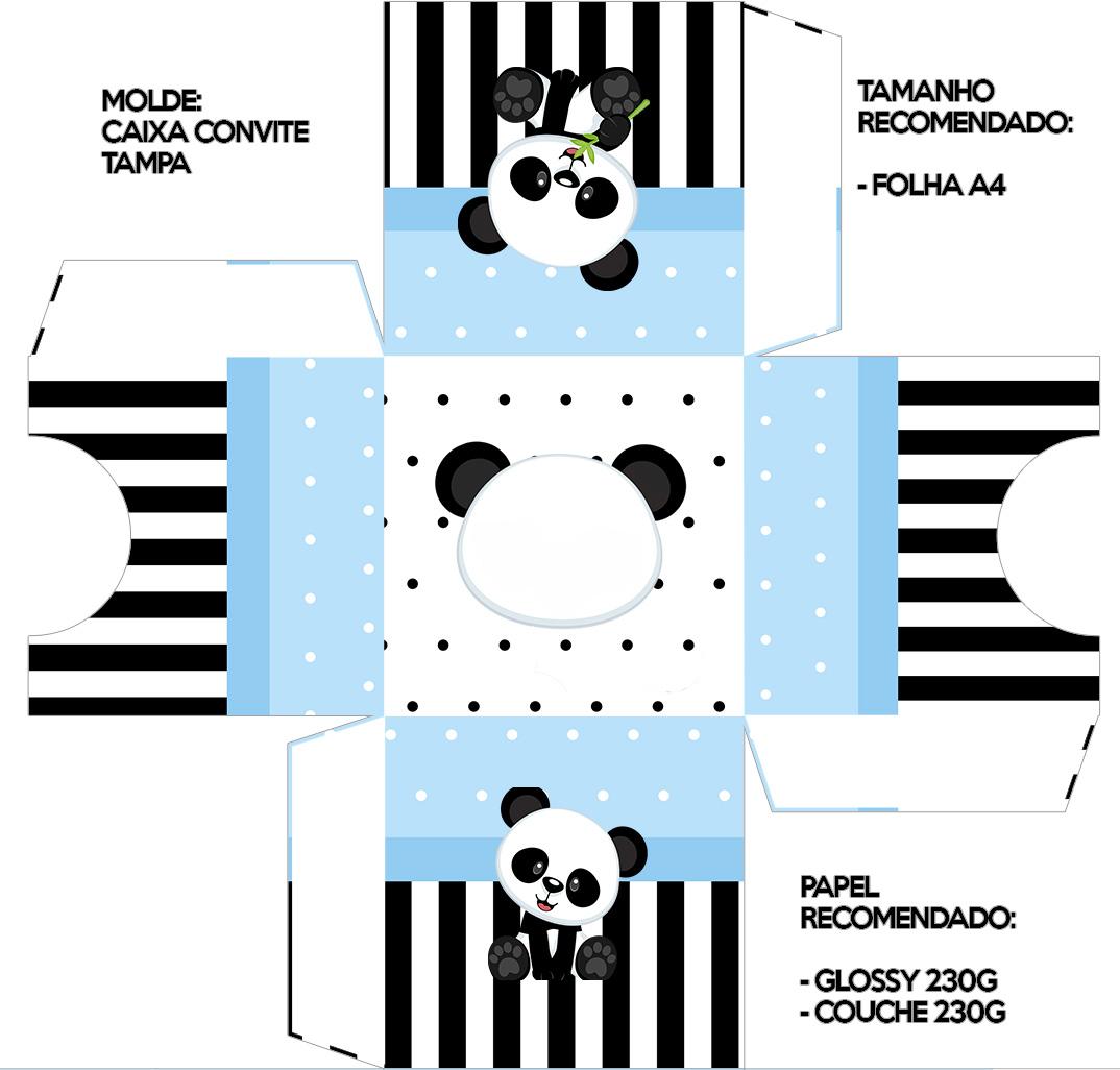 Convite Caixa Tampa Panda Azul Menino