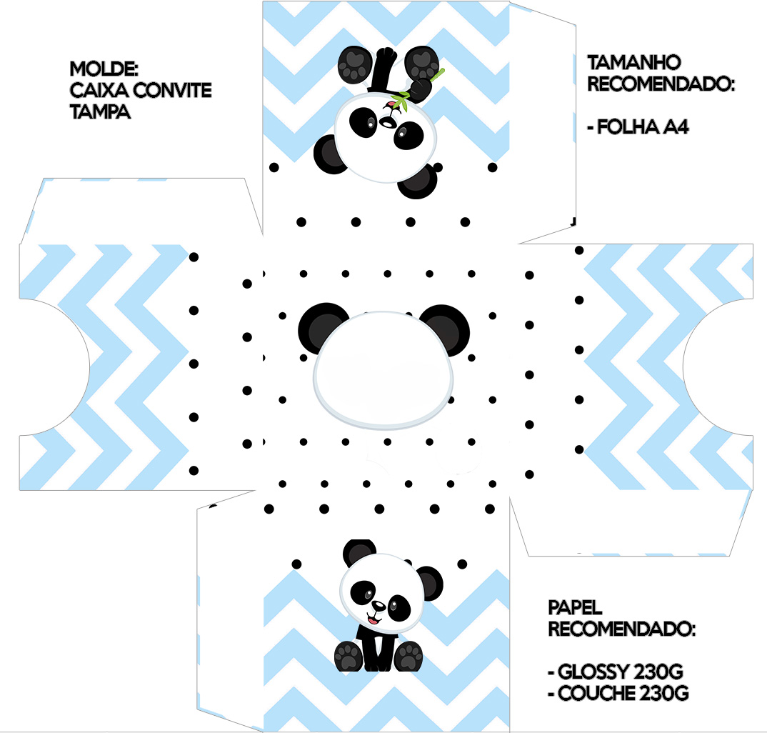 Convite Caixa Tampa Panda Azul