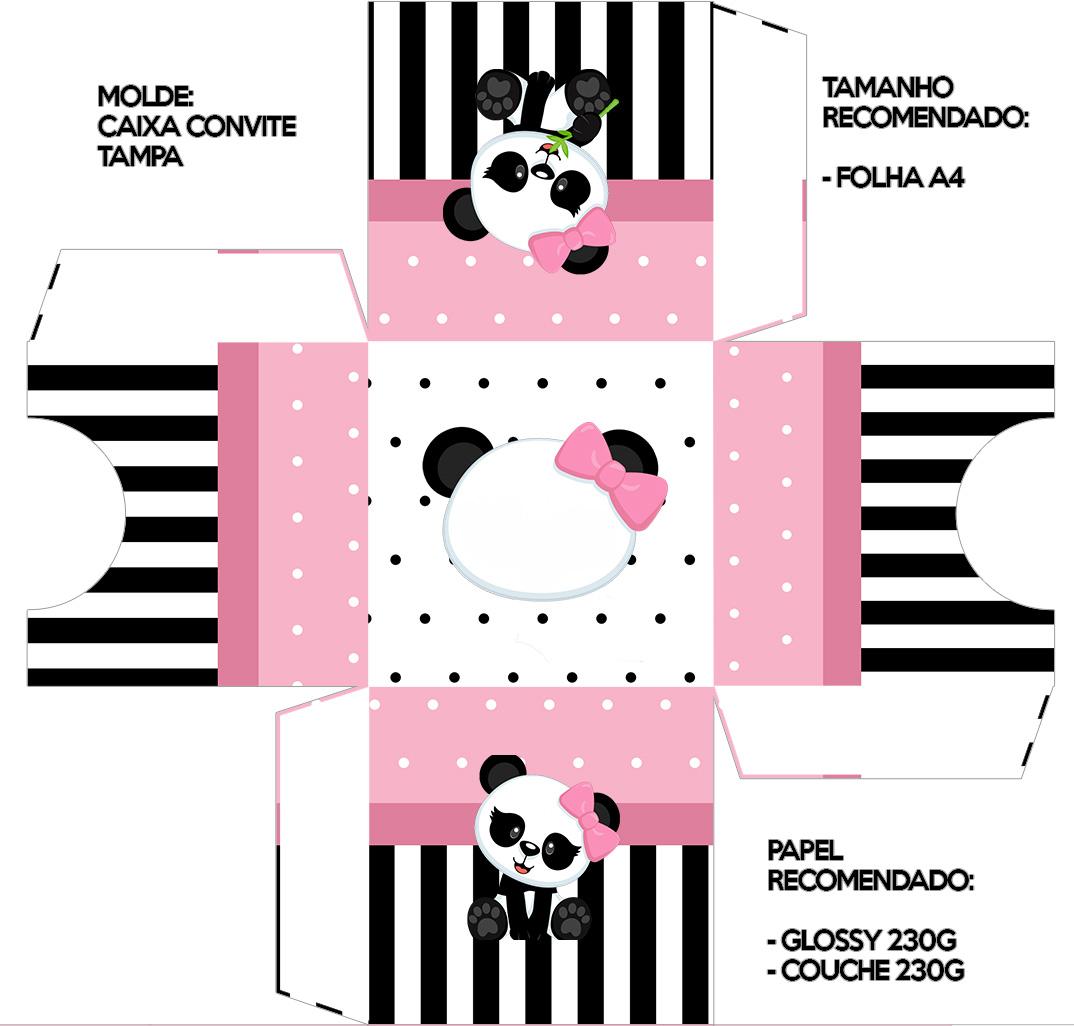 Convite Caixa Tampa Panda Rosa