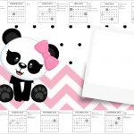 Convite Calendario 2017 Panda Rosa Menina