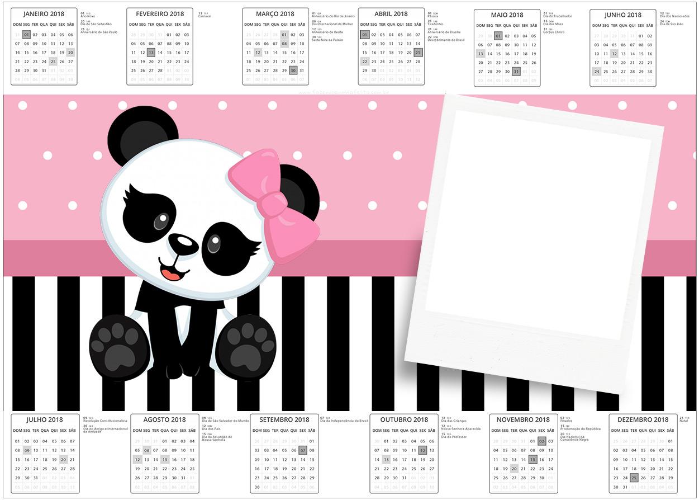 Convite Calendario 2017 Panda Rosa