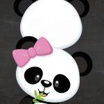 Convite Chalkboard Panda Rosa