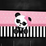 Convite Chalkboard Panda Rosa 2