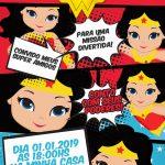 Convite Festa Mulher Maravilha Cute Modelo 1