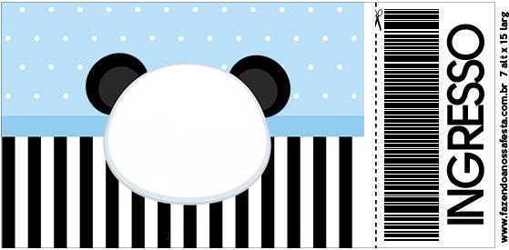 Convite Ingresso Panda Azul Menino