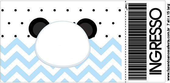 Convite Ingresso Panda Azul
