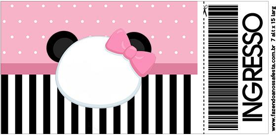 Convite Ingresso Panda Rosa