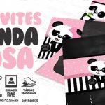 Convite Panda Rosa Grátis para Baixar e Imprimir em Casa