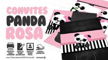 Convite Panda Rosa Gratis para Imprimir